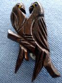 1940s Dress Clip - Two Love Birds in Dark Carved Wood